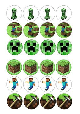 24 Icing Cupcake Cake Toppers Decorations Edible Minecraft Mine