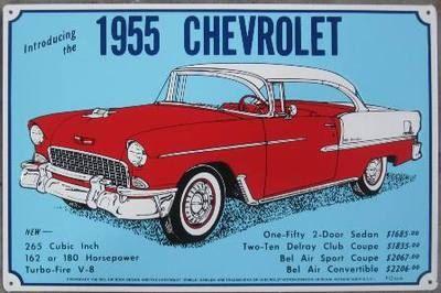 Vintage Chevrolet 1955 Bel Air Tin Sign Etsy Chevrolet Bel Air Chevrolet Turbo Fire