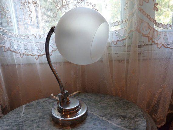 Antique 1920s art deco French industrial desk table lamp lighting light artdeco lamp adjustable chrome desk lamp w milk glass lamp shade #frenchindustrial