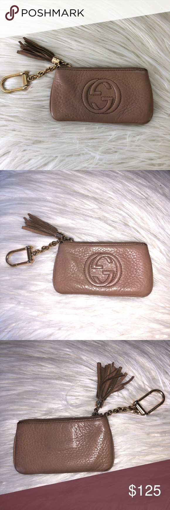 6d2ebf33303 Gucci Card Holder Pouch Keychain Nude Color - Used Authentic Gucci Card  pouch with zipper Attach to your keys Used Gucci Accessories Key   Card  Holders