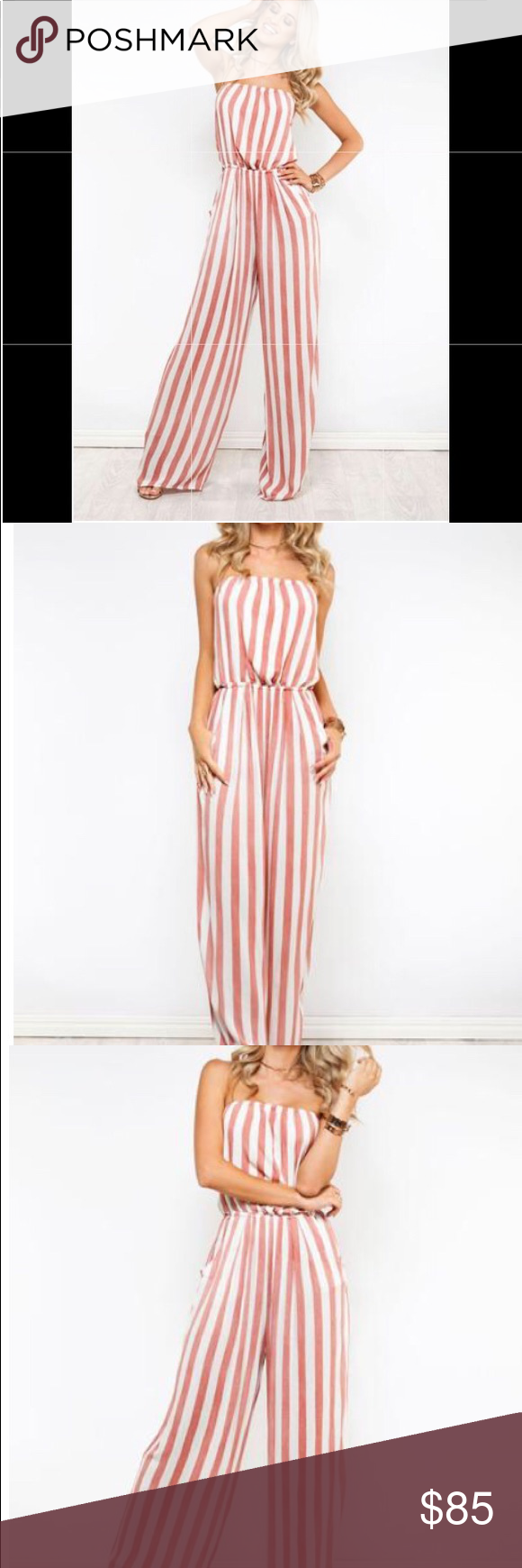 Red And White Stripe Jumpsuit Striped Jumpsuit Red And White Stripes Jumpsuit