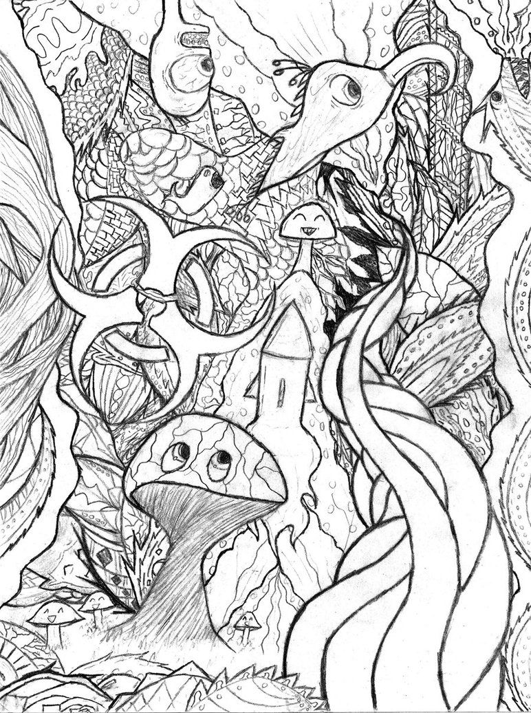 Detailed Coloring Pages For Adults Trippy Doodle by