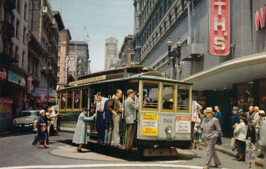 Cable Car Turnaround At Powell Circa 1950s With Images San