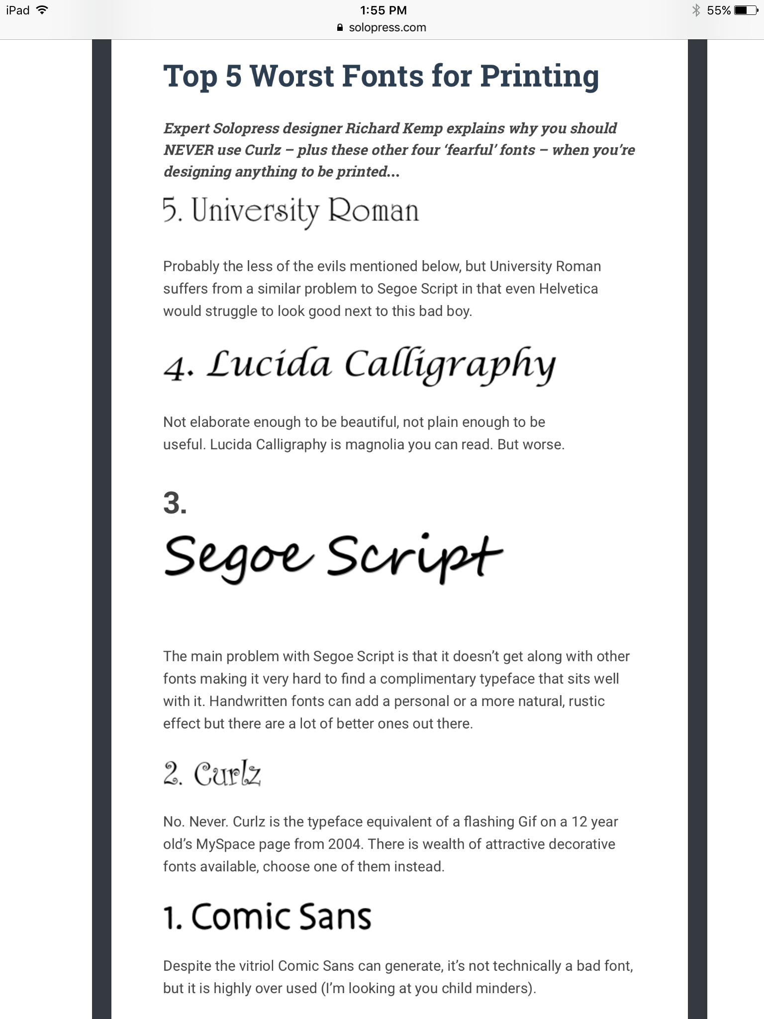 5 worst fonts for printing | Font combinations and information