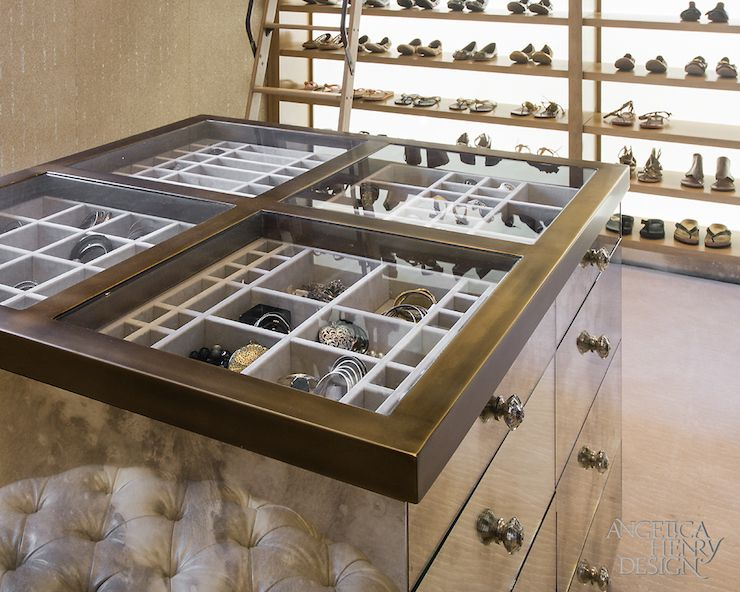 Custom Dresser Drawers And Jewelry Case In Her Luxury Walk Closet Surrounded By