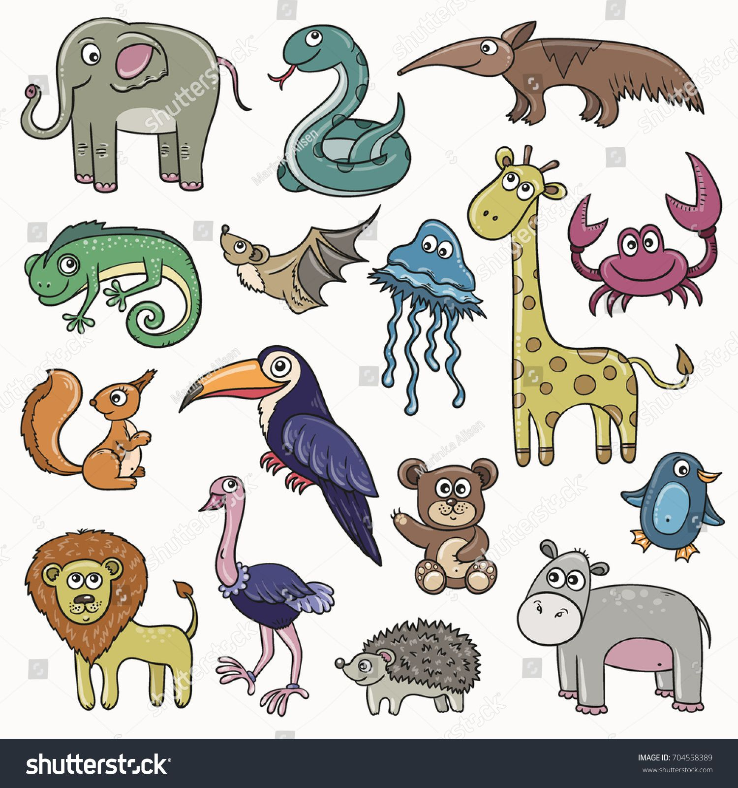Wild animals and birds cartoon kids set, vector stickers