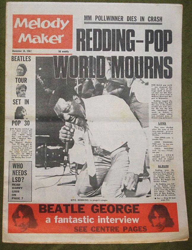 melody maker  uk   december 10  1962  otis redding killed