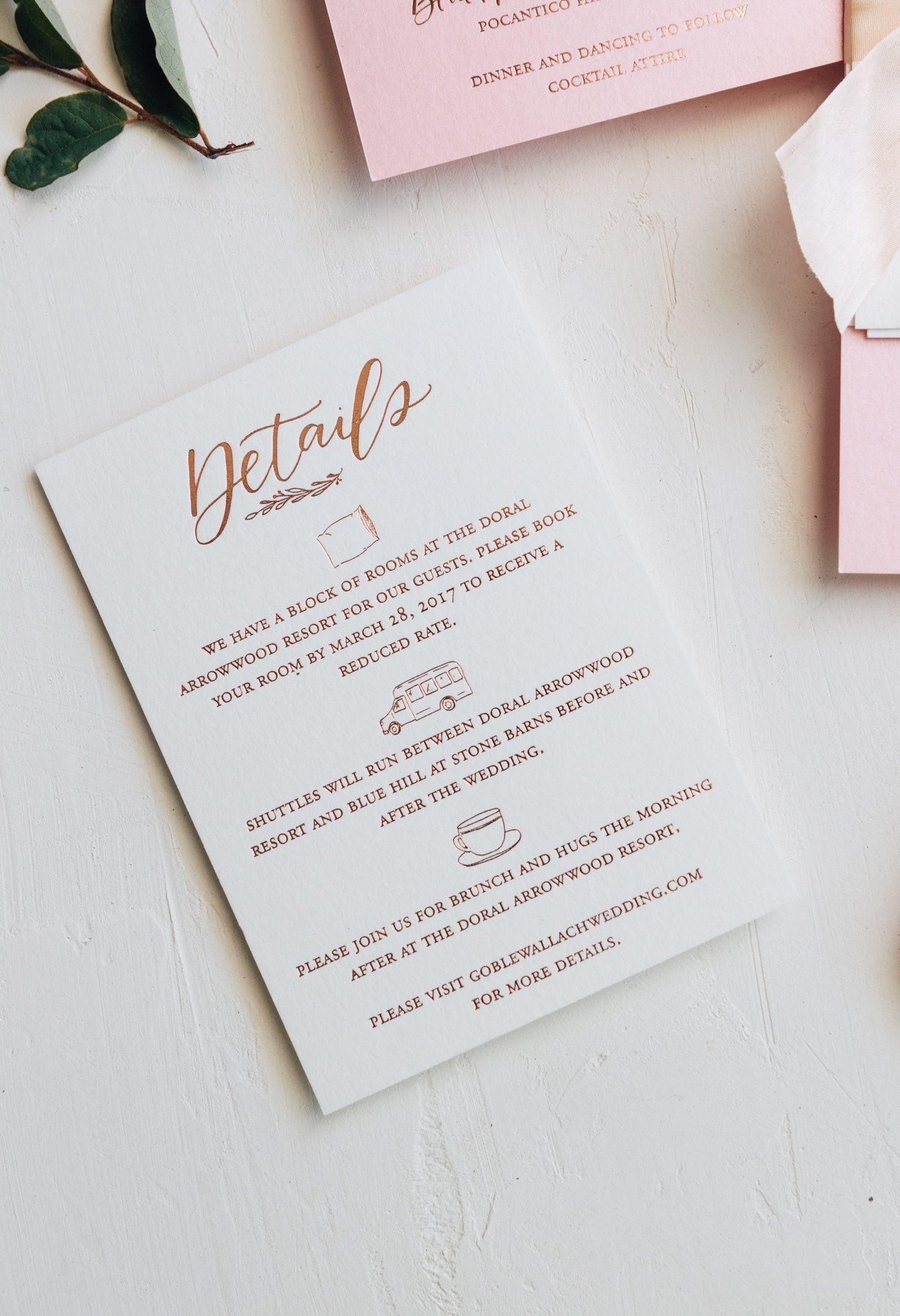 What To Put On Details Card Wedding In 2021 Wedding Invitation Details Card Bright Wedding Invitations Wedding Details Card