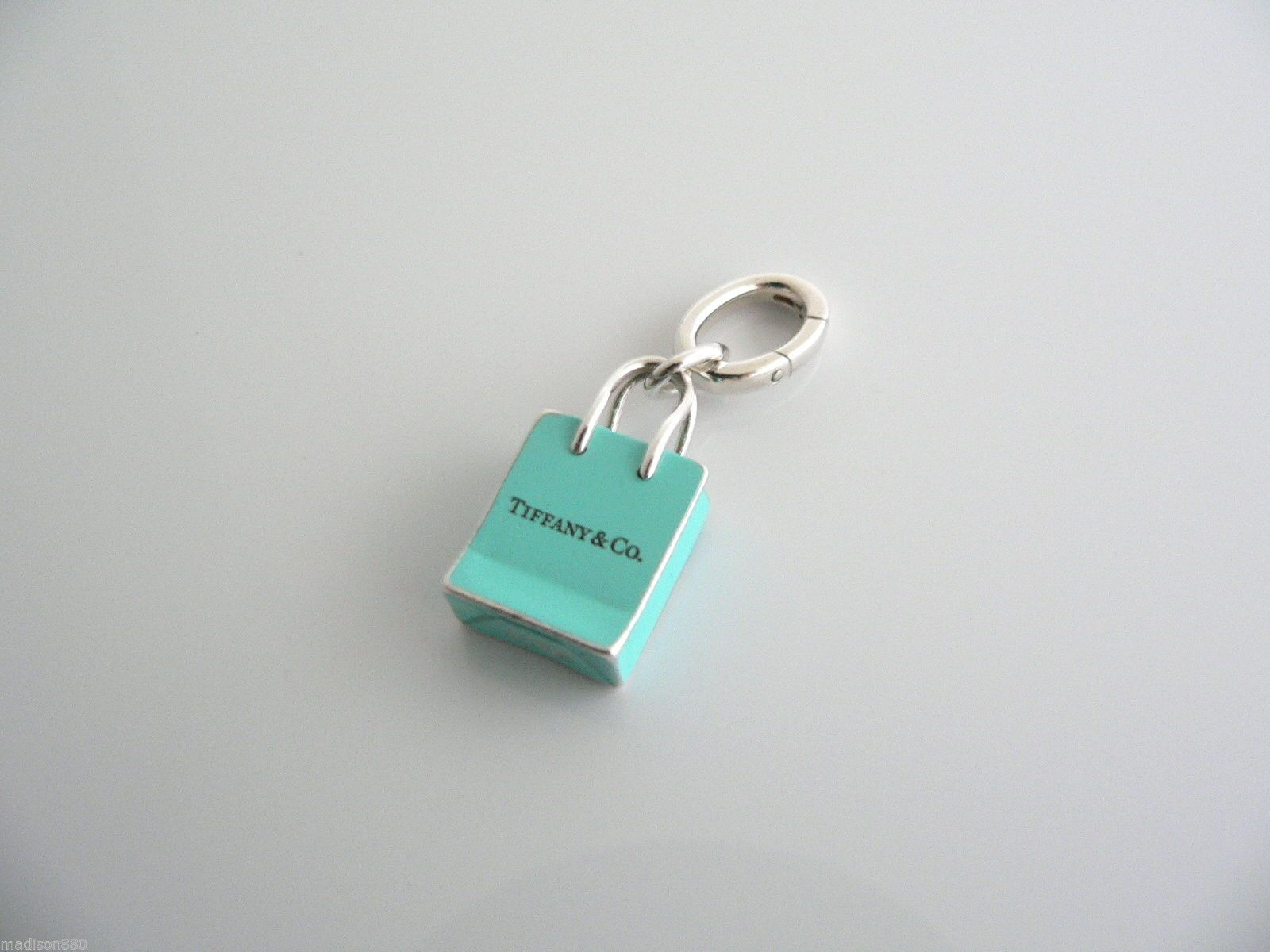 f59d46e79e Tiffany Co Silver Blue Enamel Shopping Bag Charm Pendant Oval Clasp Classic  | eBay $278