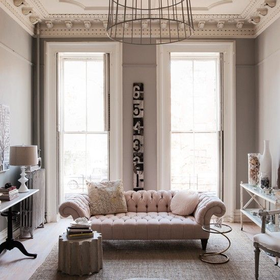 Pale pink and muted grey living room Grey living rooms Pale