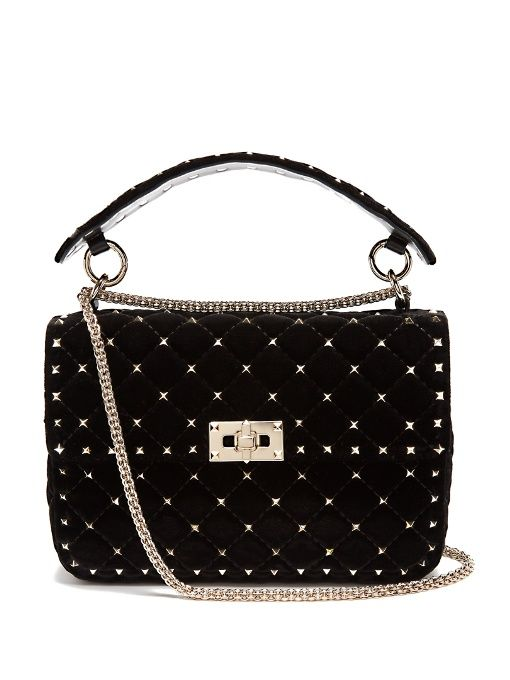 ae8f7958e89b VALENTINO Rockstud Spike Quilted-Velvet Shoulder Bag.  valentino  bags  shoulder  bags  hand bags  velvet  suede  lining