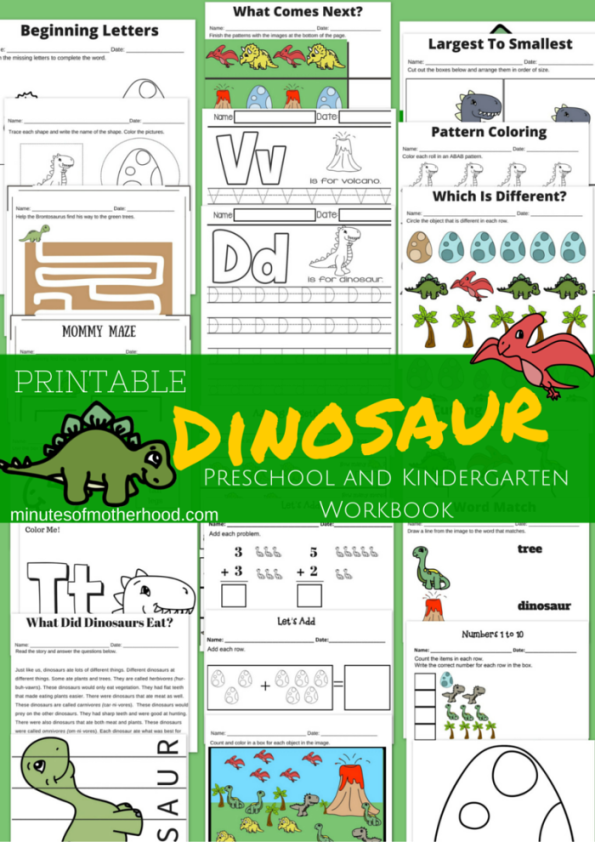 20 page dinosaur themed free printable preschool and kindergarten workbook dinosaur theme. Black Bedroom Furniture Sets. Home Design Ideas