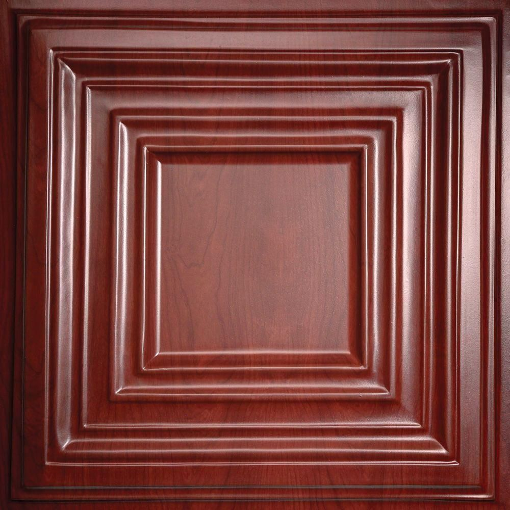 Ceilume Bistro Faux Wood Cherry 2 Ft X 2 Ft Lay In Or Glue Up Ceiling Panel Case Of 6 V3 Bistro 22chy The Home Depot Ceiling Tiles Wood Ceilings Ceiling Panels