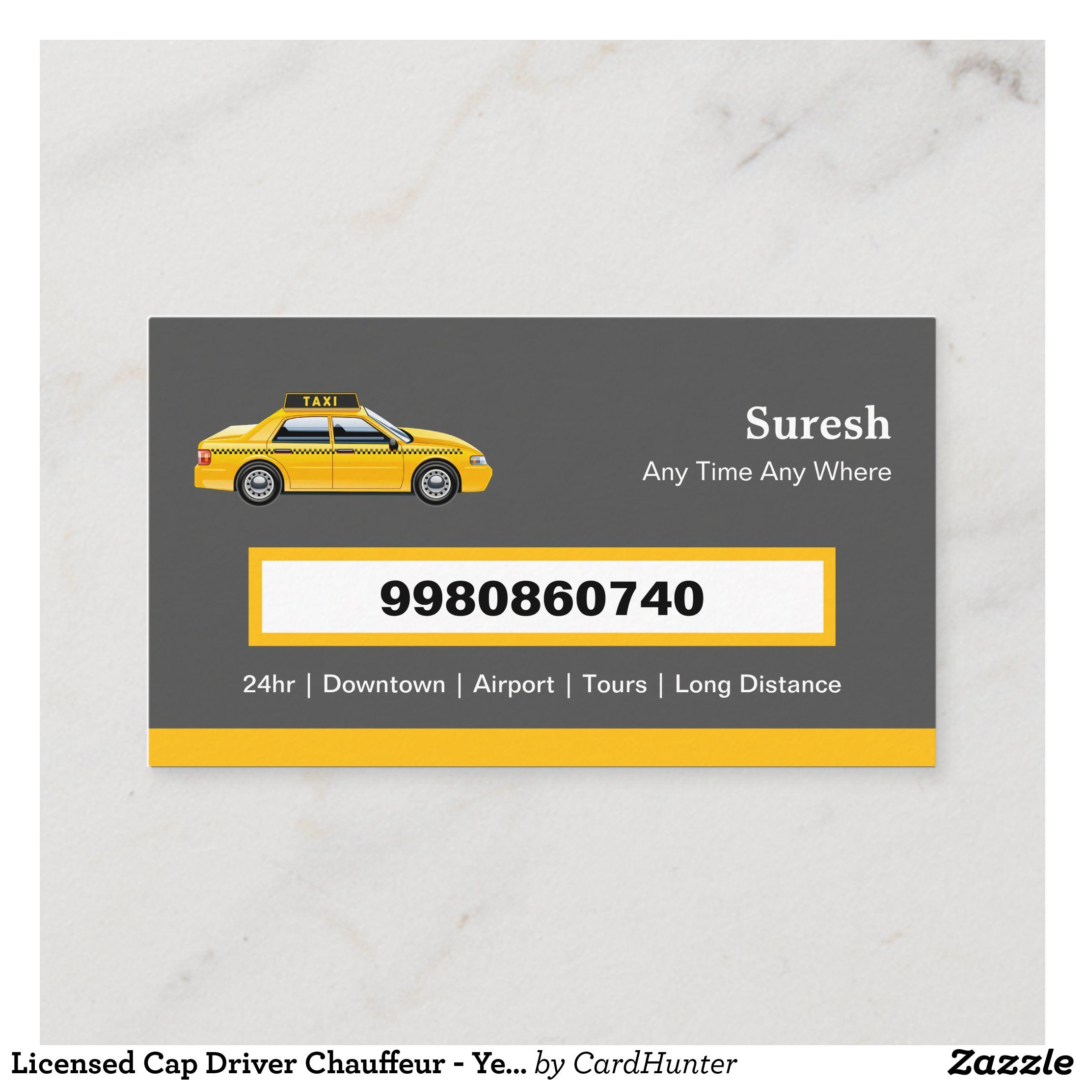 Licensed Cap Driver Chauffeur Yellow Taxi Business Card Zazzle Com Business Cards Creative Yellow Taxi Taxi