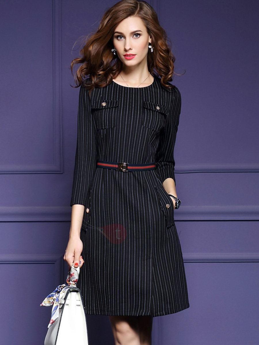 Vertical Stripes Long Sleeve Bodycon Dress | Vestiditos