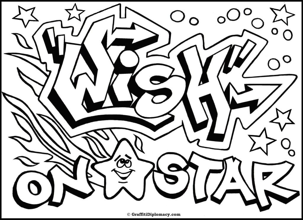 Pin Graffiti Coloring Pages Names Pelautscom