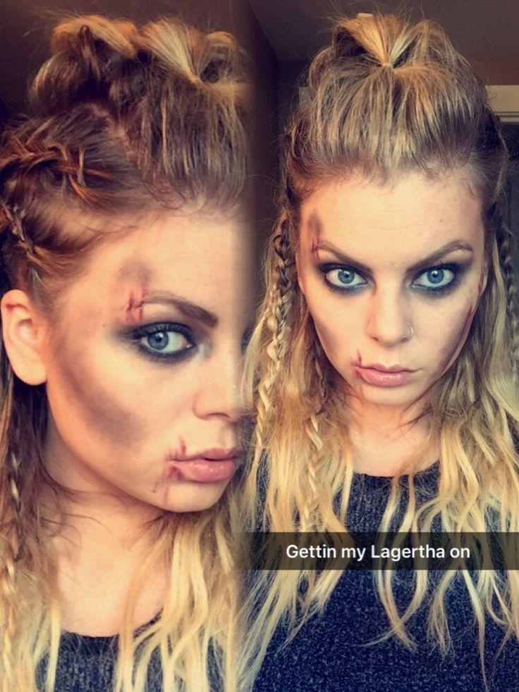 Lagertha Hair And Makeup Vikings Halloween Makeupzombie Wikinger Haare Wikinger Frisuren Halloween Haar