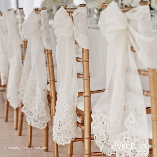 Lace chair decor. Forget Me Not Flowers.