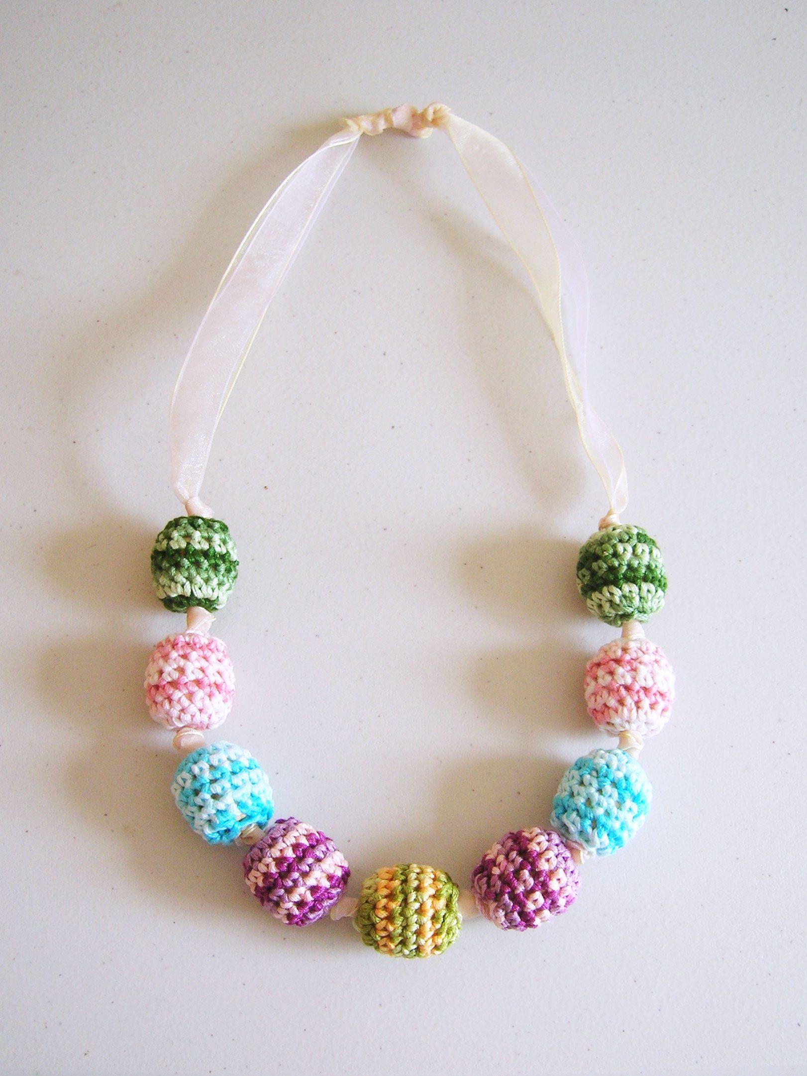 Crochet beads\' necklace/ Collar de cuentas tejidas | crochet ...