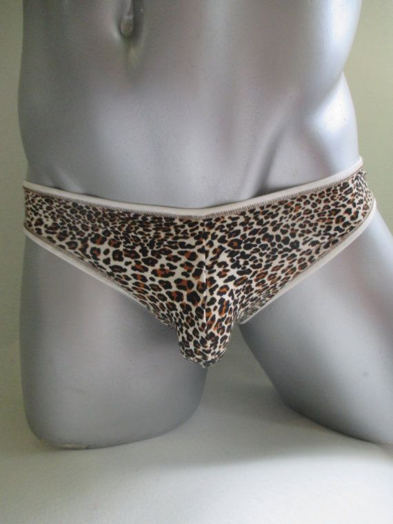 ebca772f0 Sexy men s thong leopard underwear low waistmens bamboo animal print ...