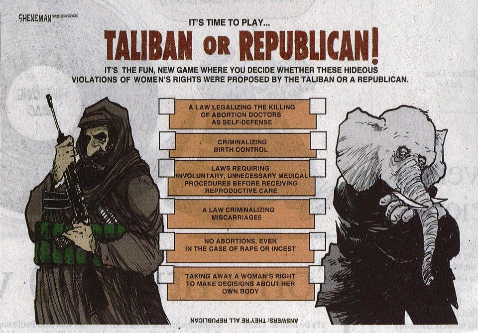 right wing christians and the Taliban, the only difference is one has a beard.