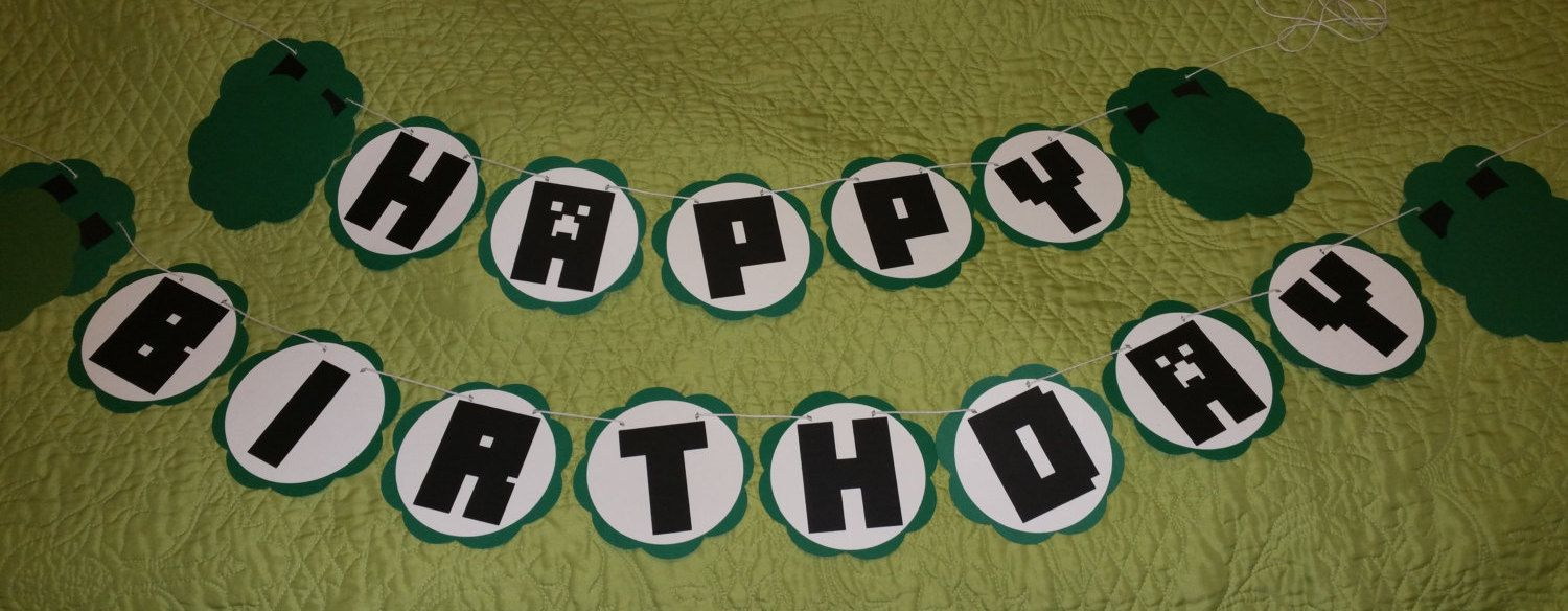 10 Off Our Entire Store Minecraft Inspired Happy Birthday Banner