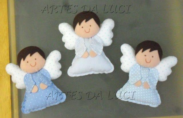 Artes da Luci: anjos, estrelas e nuvens em feltro e tecido