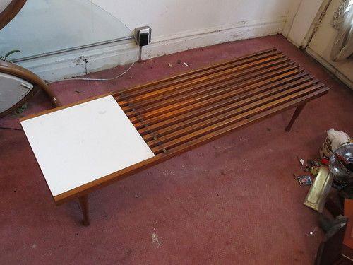 Vintage Mid Century Modern Danish Slat Bench Coffee Table Eames