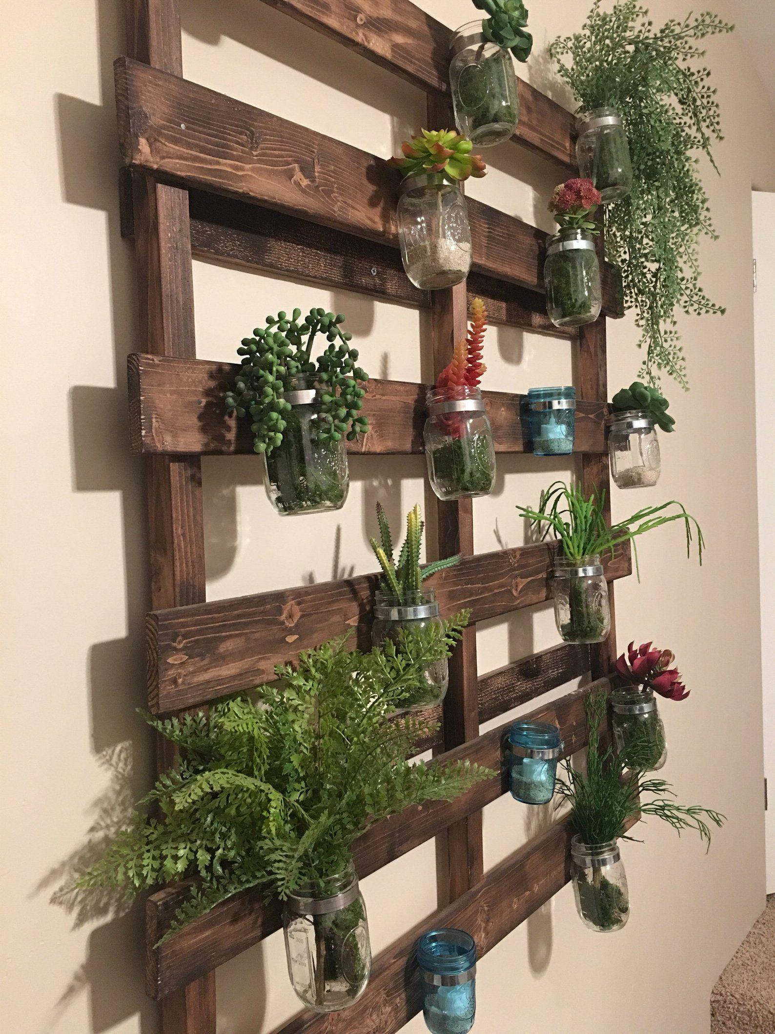 wood pallet mason jar hanging garden with images on indoor herb garden diy wall mason jars id=91419