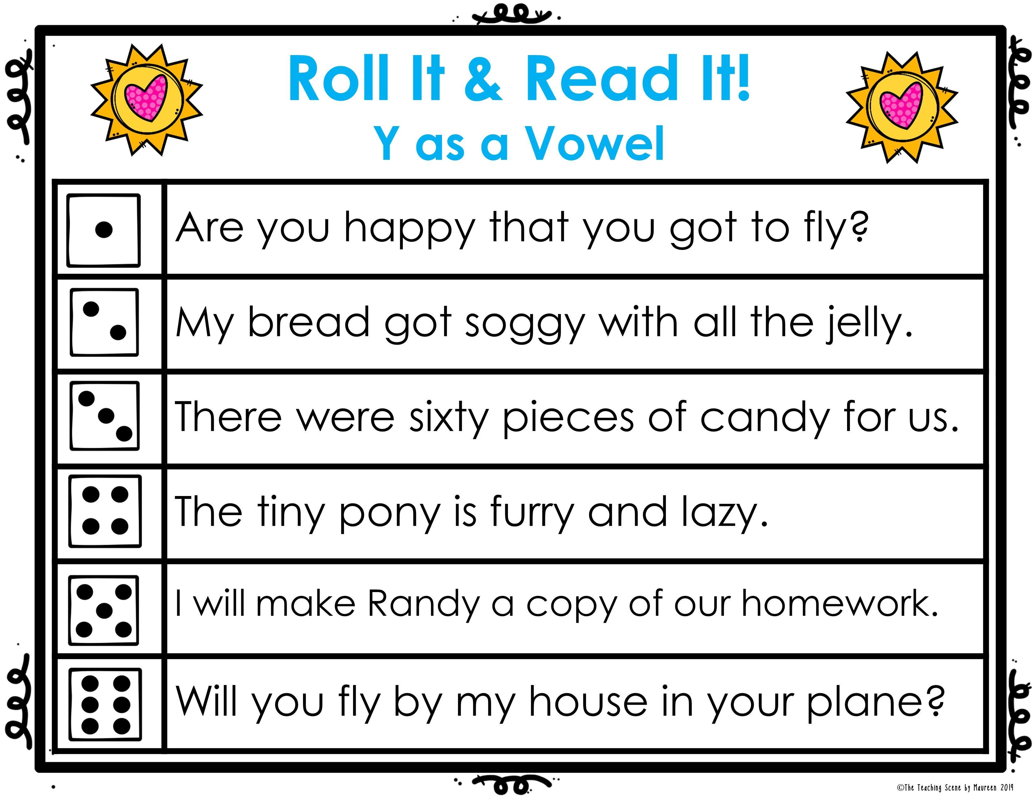 Y As A Vowel Roll It Read It Words Amp Sentences Game