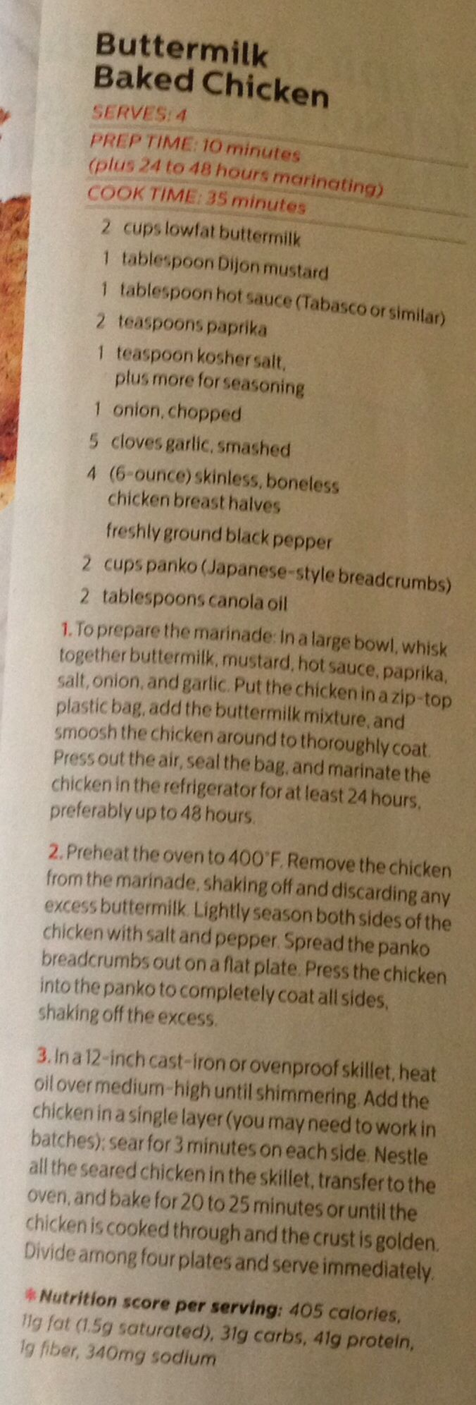 Buttermilk Baked Chicken recipe from Self 3/2014 mag