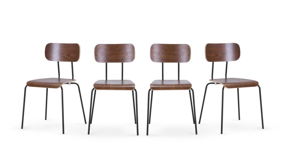 4 X Haywood Chaises Noyer Et Noir Made Com Walnut Dining Chair Black Dining Chairs Dining Chairs