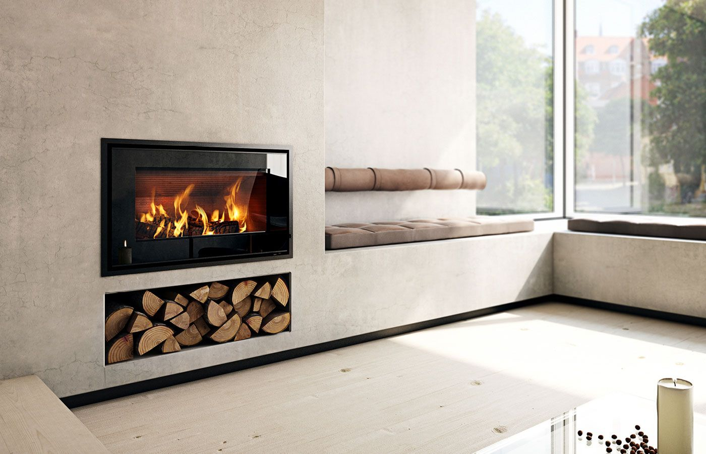 Scandinavian Fireplace Insert Home Design Ideas