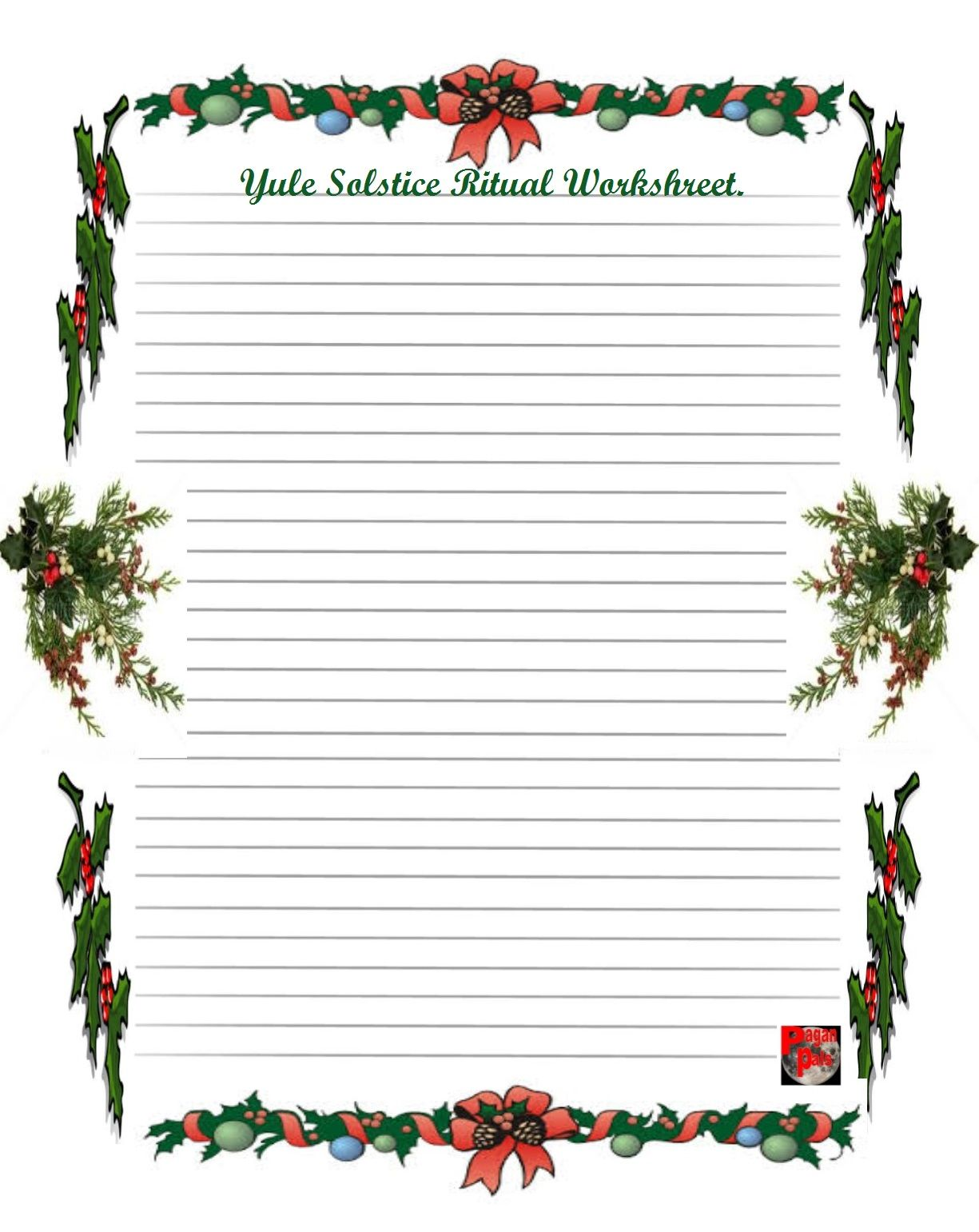Pagan Pals Yule Solstice Worksheet