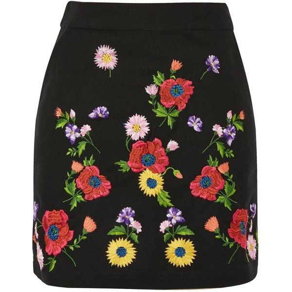 62e9969354 TopShop Floral Embroidered Mini Skirt ($30) ❤ liked on Polyvore featuring  skirts, mini skirts, topshop, black, floral print a-line skirt, a line  skirt, ...