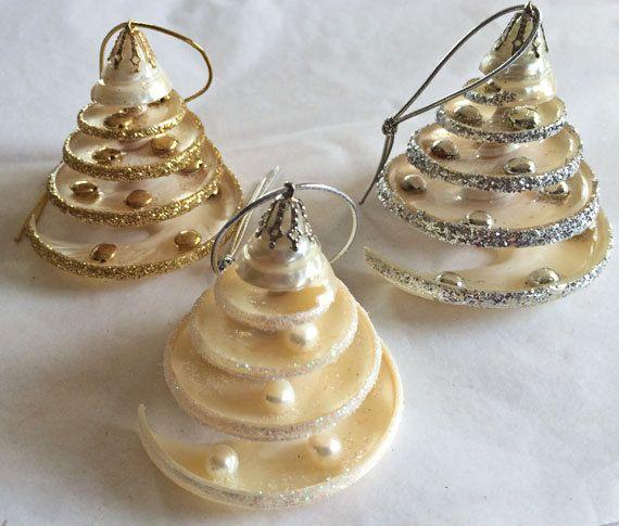 Beach christmas ornaments pearlized seashell ornaments for Seashell ornaments diy