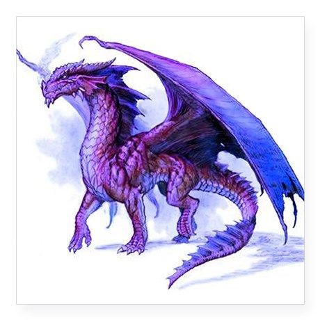 "Purple Dragon Square Sticker 3"" x 3"" on CafePress.com"