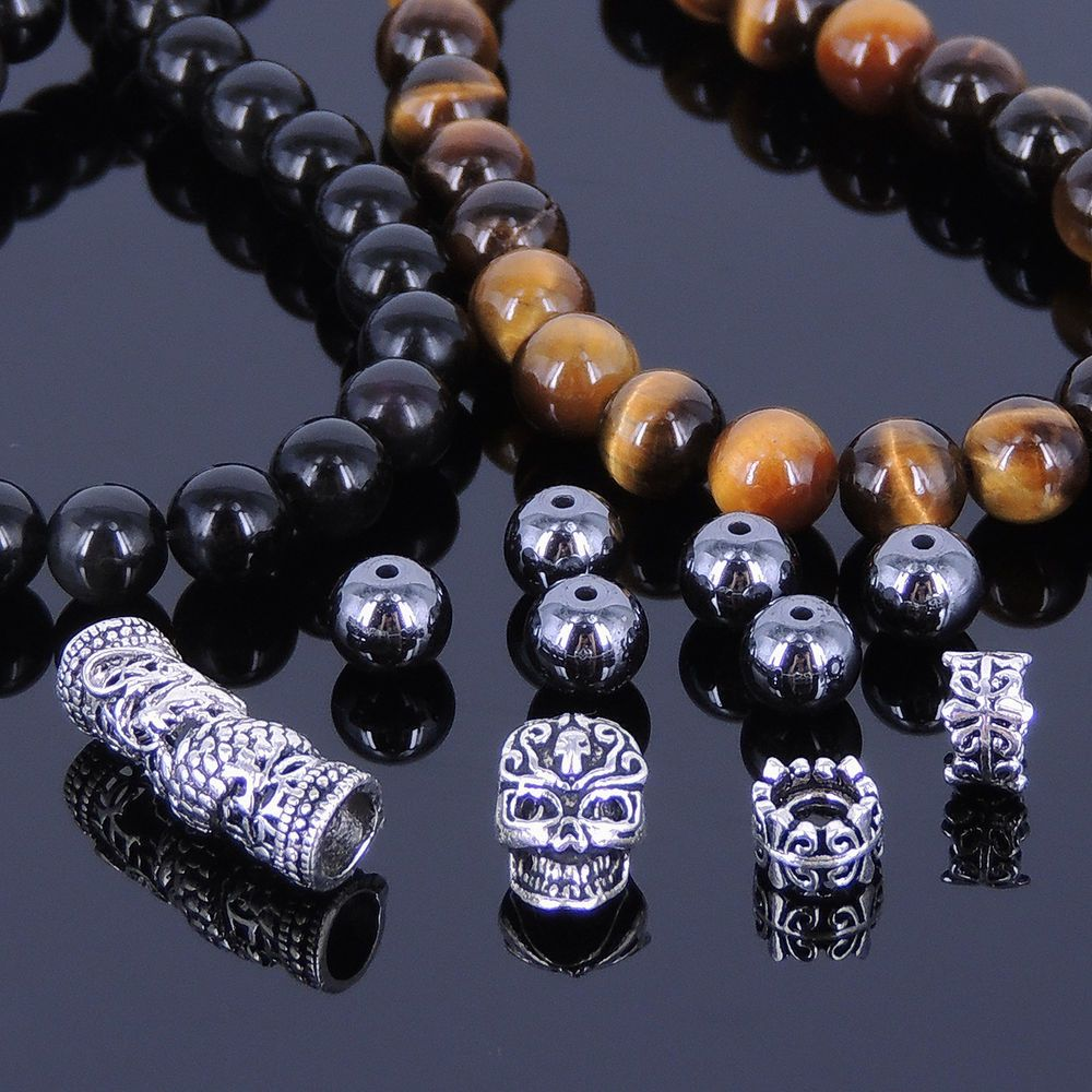 DIY Gemstone Bracelet Kit Black Obsidian Tiger Eye Sterling Silver Skull 156K-01 #HandmadeBraceletKitbyDIYNotion