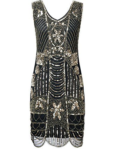 40516919 Lovely PrettyGuide Women's 1920s Gatsby Sequin Art Deco Scalloped Hem  Cocktail Flapper Dress