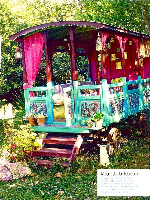 my dream house, my crazy backyard trolley turned gypsy fort...how fun would this be for a play area for girls & a reading area for mommy!