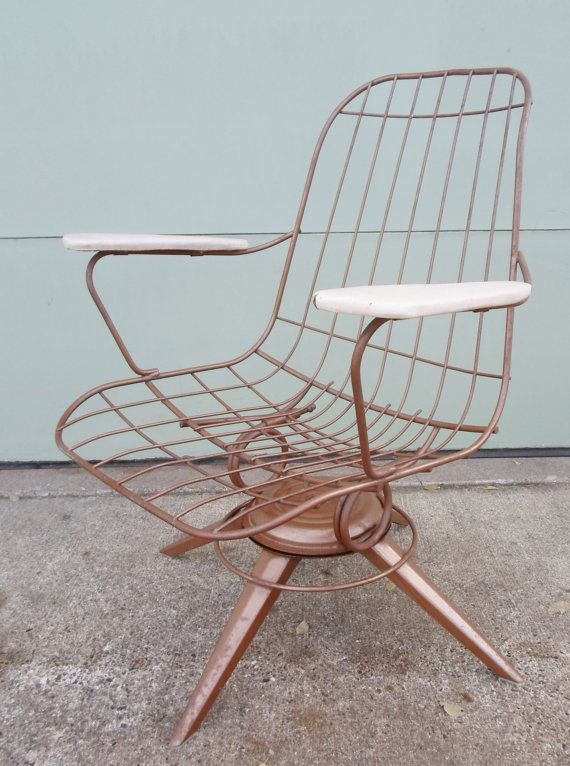 mid century modern wire chair oversized and a half vintage eames era gold metal by alsredesignvintage 245 00