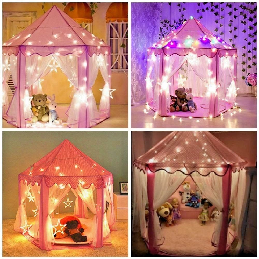 Indoor Princess Castle Play Tent with LED Star Lights Girls Large TenT+Bag  sc 1 st  Pinterest & Indoor Princess Castle Play Tent with LED Star Lights Girls Large ...