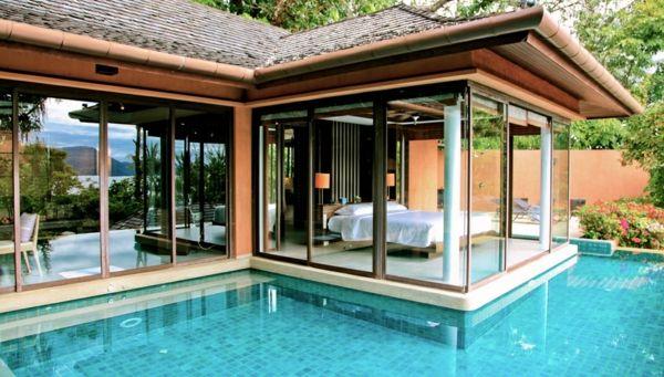 101 Bilder Von Pool Im Garten   Infinity Pool Garten Schlafzimmer Offen  Glas Wand