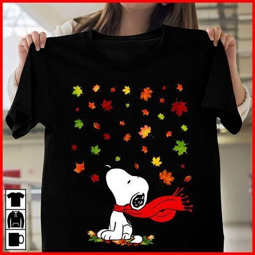 Snoopy Under Falling Maple Leaves Autumn T Shirt Men And Women T Shirt S-6XL #helloautumn