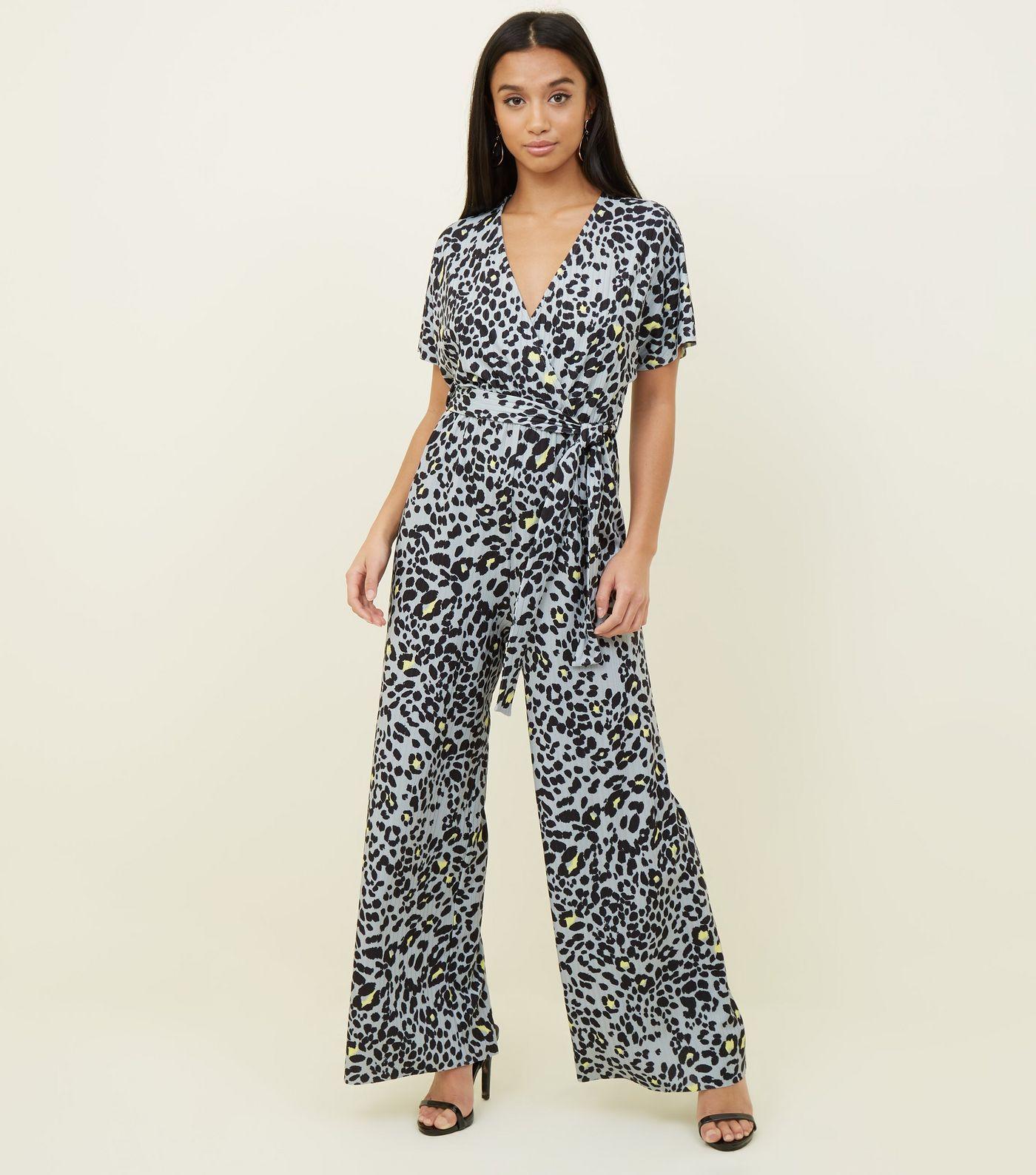 84cf8515ef Petite Light Grey Leopard Print Wrap Jumpsuit