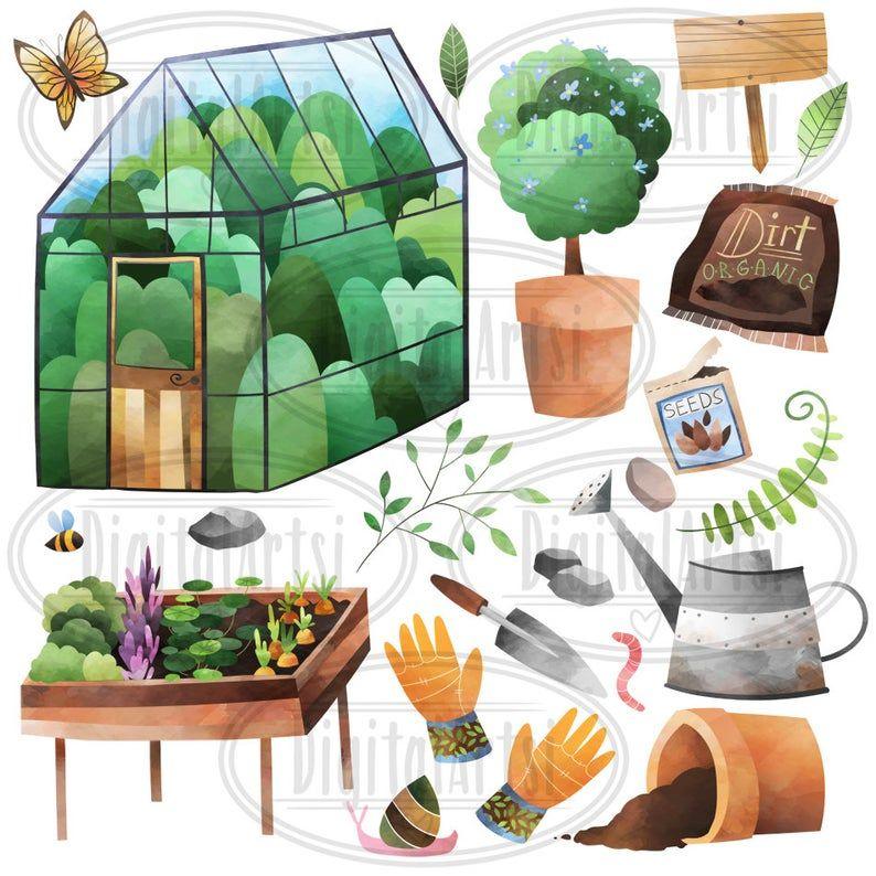 Watercolor Garden Clipart Watercolor Gardening Download