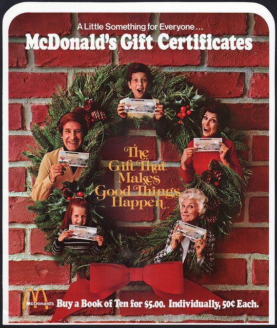 mcdonald's - plastic signage - gift certificates - 1970's | gift ...