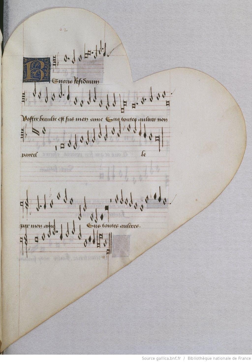 Titre :  Chansonnier cordiforme de Montchenu. RECUEIL de Chansons italiennes et françaises.  Date d'édition :  1470-1480  Rothschild 2973  Folio 62r