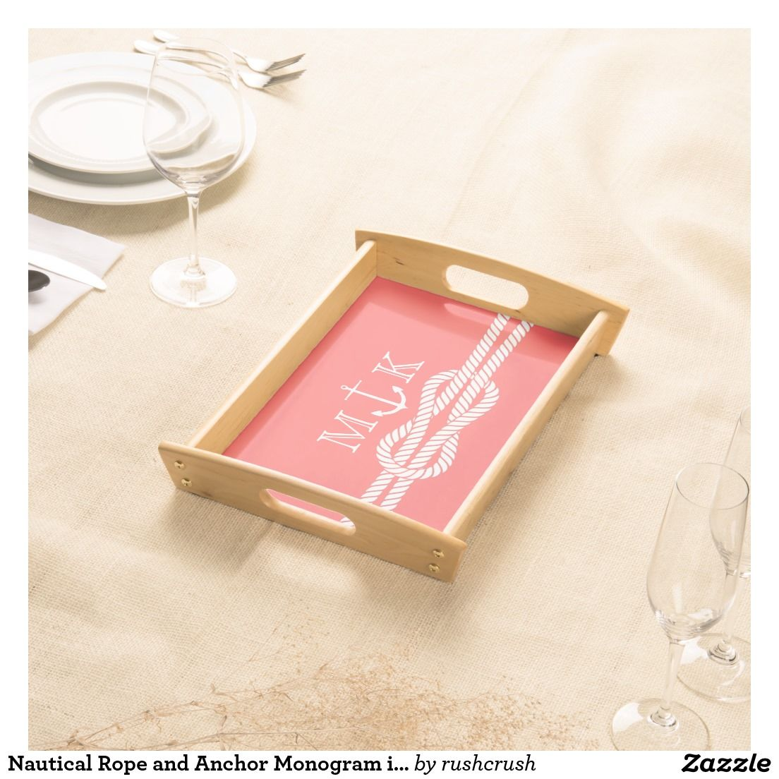 Nautical Rope and Anchor Monogram in Coral Serving Tray