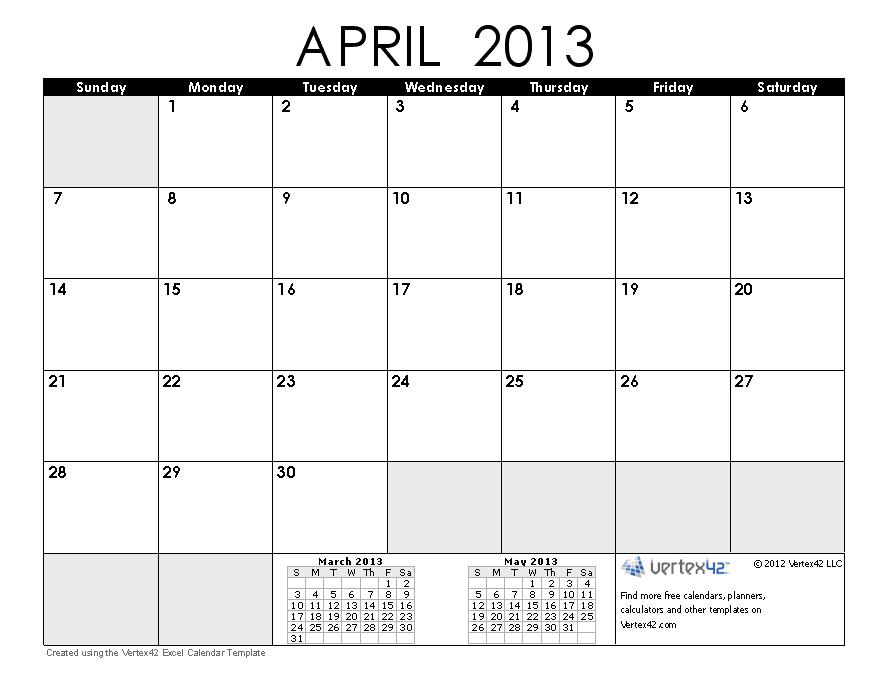 Calendar April 2013 Printable : Printable calendar free april